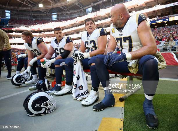Offensive tackle Andrew Whitworth, offensive guard Austin Corbett, offensive guard Austin Blythe and offensive guard David Edwards of the Los Angeles...