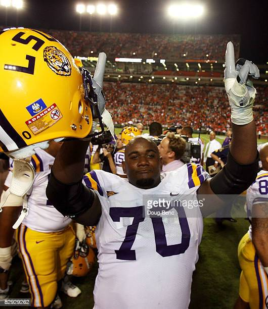 Offensive tackle Ciron Black of the LSU Tigers celebrates after defeating the Auburn Tigers at Jordan-Hare Stadium on September 20, 2008 in Auburn,...