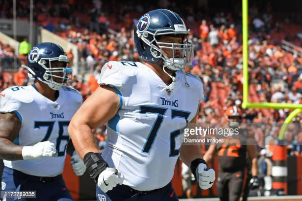 Offensive tackle David Quessenberry of the Tennessee Titans on the field prior to a game against the Cleveland Browns on September 8, 2019 at...