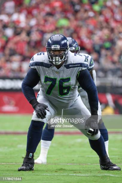 Offensive tackle Duane Brown of the Seattle Seahawks in action during the NFL game against the Arizona Cardinals at State Farm Stadium on September...
