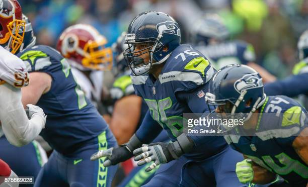 Offensive tackle Duane Brown of the Seattle Seahawks in action against the Washington Redskins at CenturyLink Field on November 5, 2017 in Seattle,...
