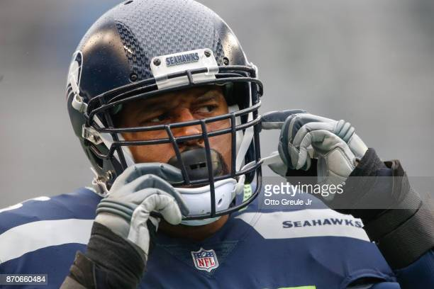 Offensive tackle Duane Brown of the Seattle Seahawks warms up prior to the game against the Washington Redskins at CenturyLink Field on November 5,...