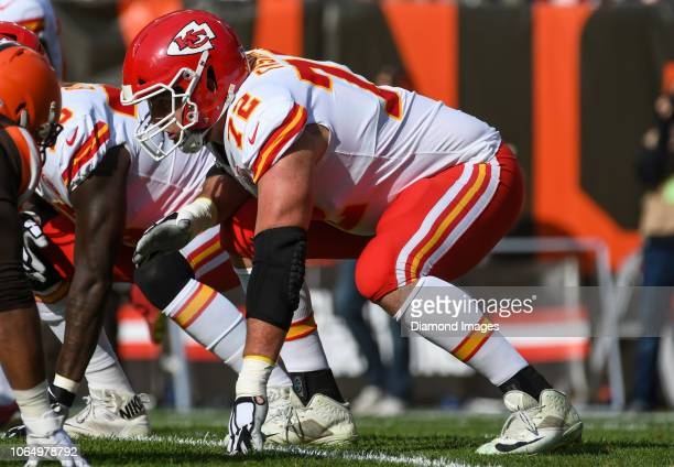 Offensive tackle Eric Fisher of the Kansas City Chiefs awaits the snap in the first quarter of a game against the Cleveland Browns on November 4 2018...
