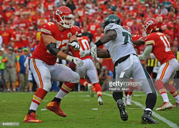 Offensive tackle Eric Fisher of the Kansas City Chiefs blocks defensive end Vinny Curry of the Philadelphia Eagles during the second half on...