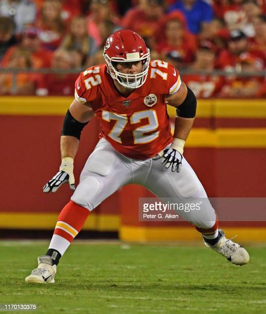 Offensive tackle Eric Fisher of the Kansas City Chiefs gets set on the line during the first half of a preseason game against the San Francisco 49ers...