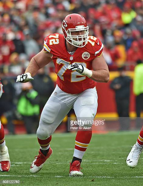 Offensive tackle Eric Fisher of the Kansas City Chiefs gets set on the offensive line against the Cleveland Browns during the first half on December...