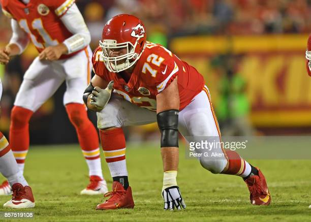 Offensive tackle Eric Fisher of the Kansas City Chiefs gets set on the line against the Washington Redskins during the first half on October 2 2017...