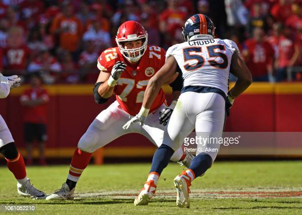 Offensive tackle Eric Fisher of the Kansas City Chiefs gets set to block Linebacker Bradley Chubb of the Denver Broncos during the first half on...