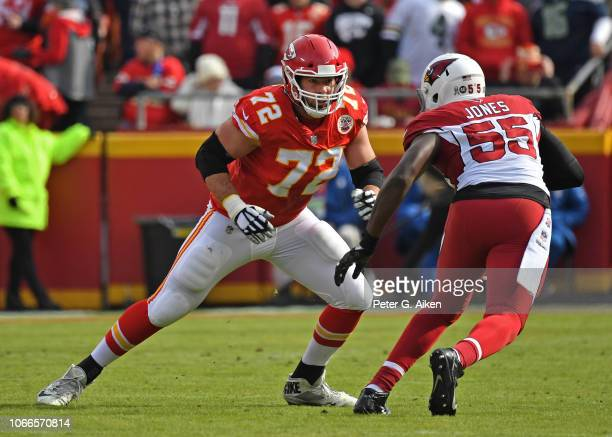 Offensive tackle Eric Fisher of the Kansas City Chiefs gets set to block defensive end Chandler Jones of the Arizona Cardinals during the first half...