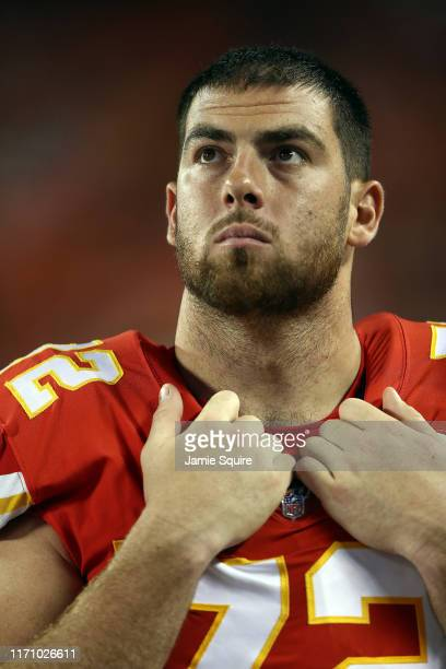 Offensive tackle Eric Fisher of the Kansas City Chiefs watches from the sidelines during the preseason game against the San Francisco 49ers Arrowhead...