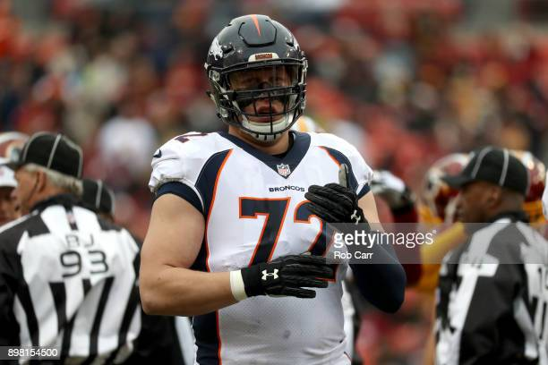 Offensive tackle Garett Bolles of the Denver Broncos looks on against the Washington Redskins at FedExField on December 24 2017 in Landover Maryland