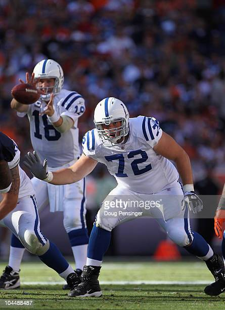 Offensive tackle Jeff Linkenbach protects quarterback Peyton Manning of the Indianapolis Colts against the Denver Broncos at INVESCO Field at Mile...