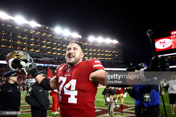 Offensive tackle Joe Staley of the San Francisco 49ers celebrates the 3431 win over the Los Angeles Rams at Levi's Stadium on December 21 2019 in...