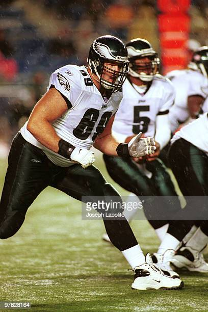 Offensive tackle Jon Runyan of the Philadelphia Eagles in pass protection during a 40 to 17 victory over the Dallas Cowboys on at Veterans Stadium...