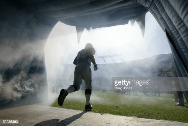 Offensive tackle Jordan Gross of the Carolina Panthers takes the field to face the Tampa Bay Buccaneers during the game at Bank of America Stadium on...
