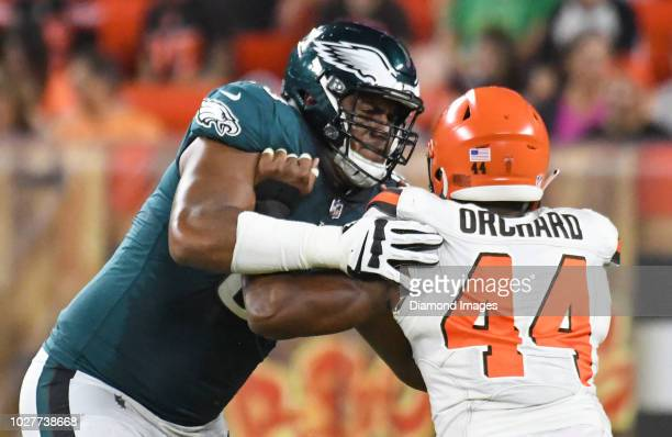 Offensive tackle Jordan Mailata of the Philadelphia Eagles engages defensive end Nate Orchard of the Cleveland Browns in the fourth quarter of a...