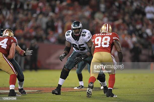 Offensive tackle King Dunlap of the Philadelphia Eagles in action during the game against the San Francisco 49ers at Candlestick Park on October 10,...