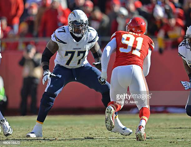 Offensive tackle King Dunlap of the San Diego Chargers gets set to block linebacker Tamba Hali of the Kansas City Chiefs during the first half on...