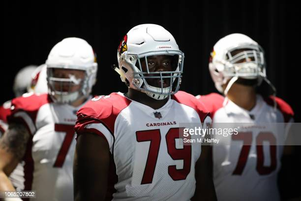 Offensive tackle Korey Cunningham of the Arizona Cardinals leads the Cardinals onto the field for the game against the Los Angeles Chargers at...