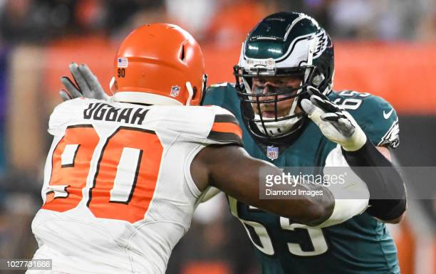 Offensive tackle Lane Johnson of the Philadelphia Eagles engages defensive end Emmanuel Ogbah of the Cleveland Browns in the second quarter of a...