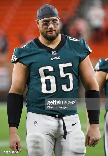 Offensive tackle Lane Johnson of the Philadelphia Eagles walks off the field after a preseason game against the Cleveland Browns on August 23 2018 at...