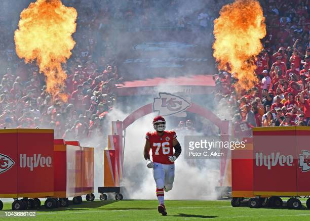 Offensive tackle Laurent DuvernayTardif of the Kansas City Chiefs is introduced prior to a game against the San Francisco 49ers on September 23 2018...