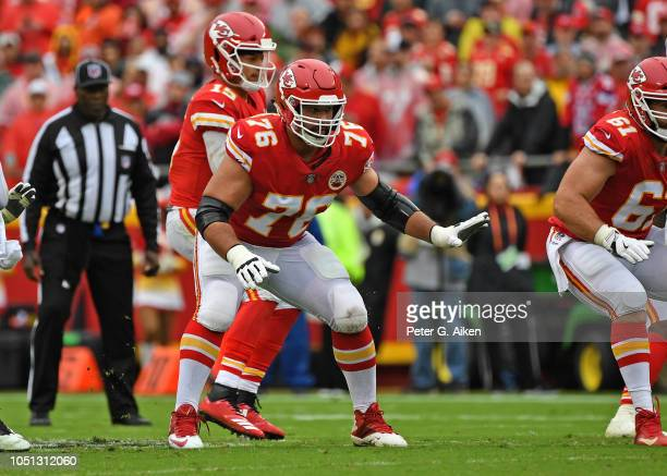 Offensive tackle Laurent DuvernayTardif of the Kansas City Chiefs gets set to pass block during the first half against the Jacksonville Jaguars on...