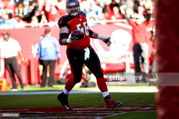 Offensive tackle Leonard Wester of the Tampa Bay Buccaneers celebrates after hauling in a 2yard pass from quarterback Jameis Winston for a touchdown...