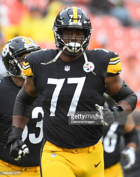 Offensive tackle Marcus Gilbert of the Pittsburgh Steelers on the field prior to a game against the Cleveland Browns on September 9 2018 at...