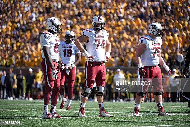 Offensive tackle Mason Zandi of the South Carolina Gamecocks lines up against the Missouri Tigers at Memorial Stadium on October 3 2015 in Columbia...