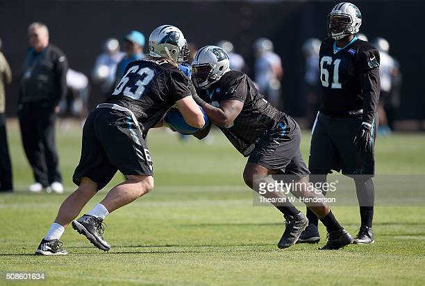 Offensive Tackle Michael Oher of the Carolina Panthers participates in drills during practice prior to Super Bowl 50 at San Jose State University on...