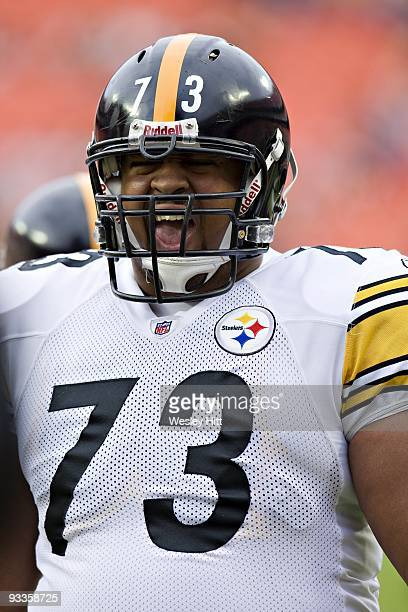 Offensive tackle Ramon Foster of the Pittsburgh Steelers warming up before a game against the Kansas City Chiefs at Arrowhead Stadium on November 22...