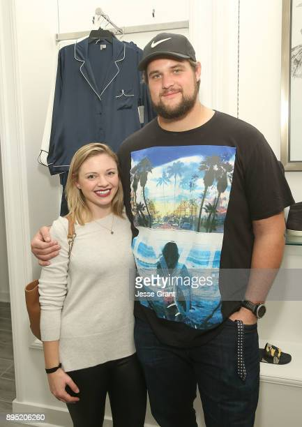 Offensive tackle Rob Havenstein and Meaghan Conway attend the LA Rams Wives and Girlfriends Holiday Gifting Event at Westfield Topanga Mall on...