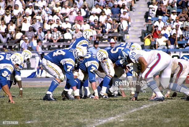 Offensive tackle Ron Mix of the San Diego Chargers waits for the snap to quarterback John Hadl in a 1965 game against the Houston Oilers at Balboa...
