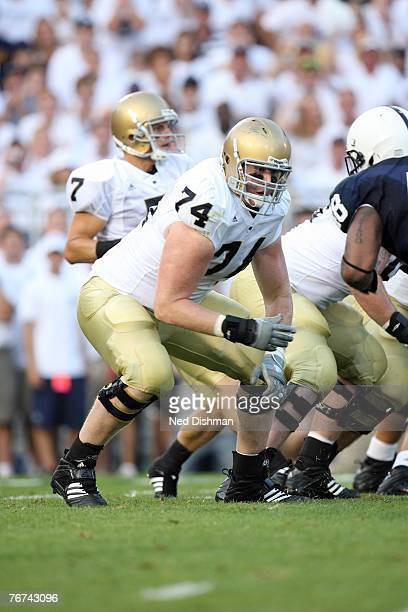 Offensive tackle Sam Young of the University of Notre Dame Fighting Irish blocks against the Penn State Nittany Lions at Beaver Stadium on September...