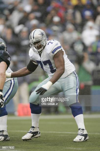 Offensive tackle Torrin Tucker of the Dallas Cowboys blocks against the Seattle Seahawks at Qwest Field on October 23 2005 in Seattle Washington The...