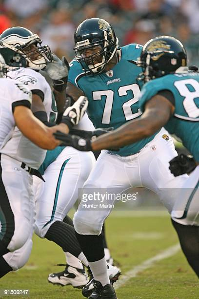 Offensive tackle Tra Thomas of the Jacksonville Jaguars pass blocks during a game against the Philadelphia Eagles on August 27 2009 at Lincoln...