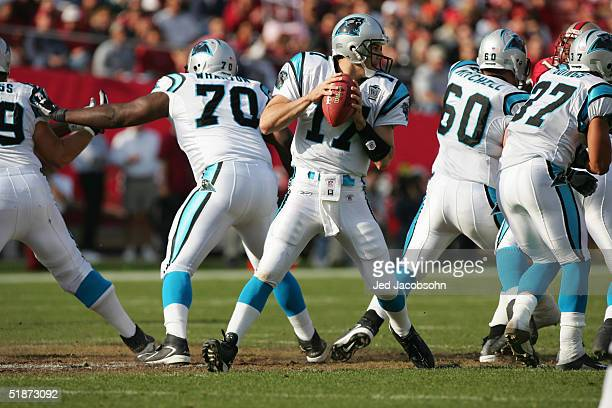 Offensive tackle Travelle Wharton center Jeff Mitchell and running back Nick Goings protect Carolina Panthers quarterback Jake Delhomme against the...