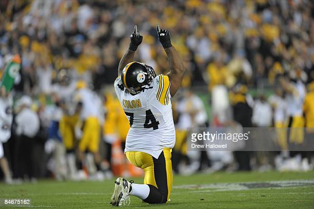 Offensive tackle Willie Colon of the Pittsburgh Steelers celebrates against the Arizona Cardinals during Super Bowl XLIII on February 1 2009 Raymond...