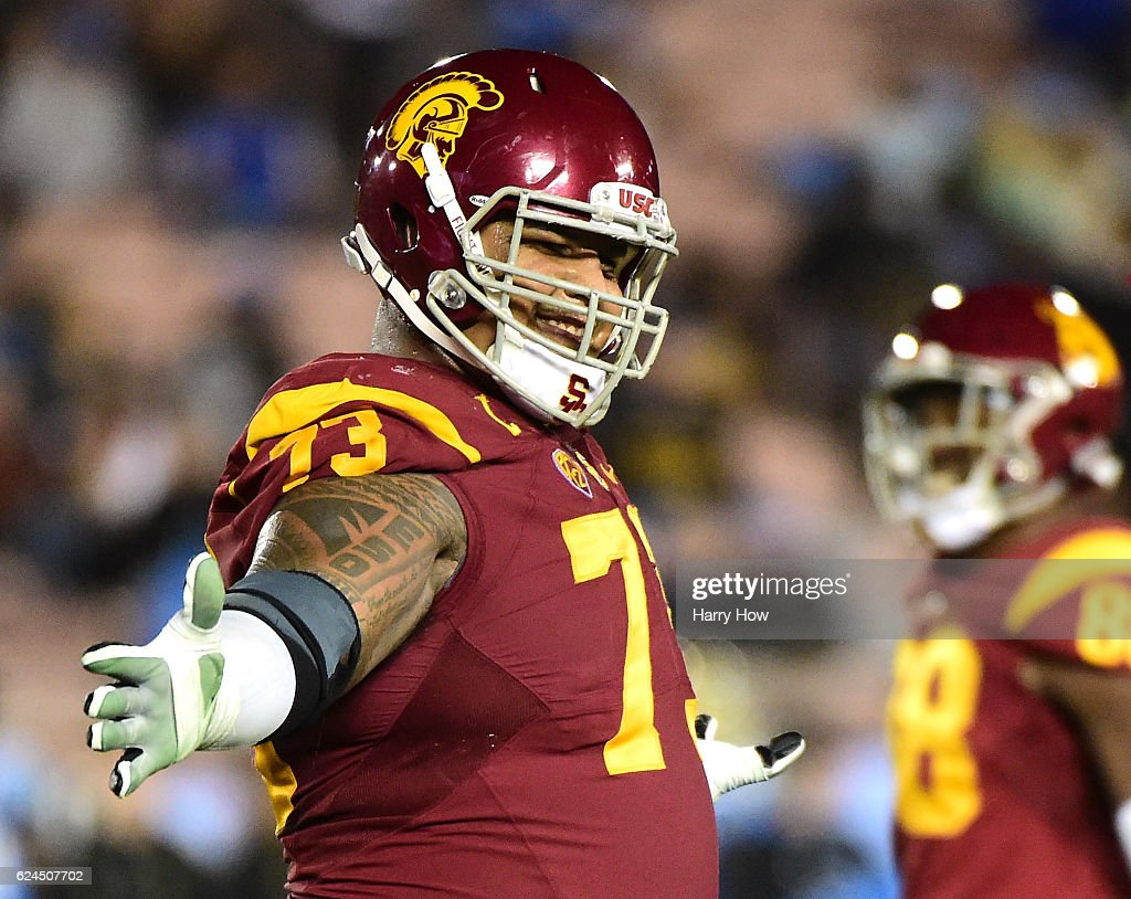 Offensive tackle Zach Banner #73 of the USC Trojans smiles during a 36-14 win over the UCLA Bruins at Rose Bowl on November 19, 2016 in Pasadena, California.