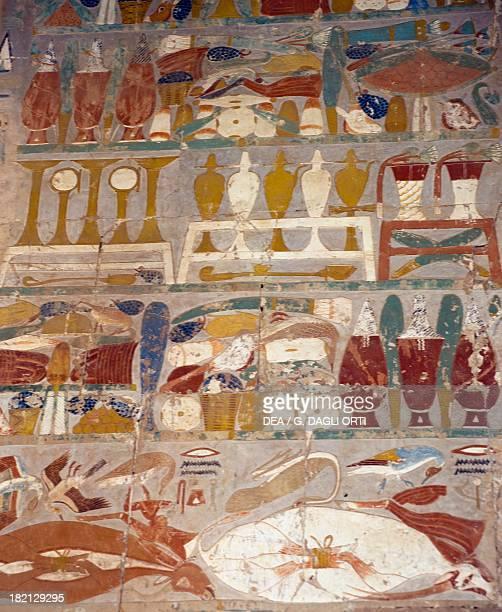 Offering and perfume jars between Anubis and Hatshepsut mural Chapel of Anubis Mortuary Temple of Hatshepsut Deir elBahari Theban Necropolis Detail...