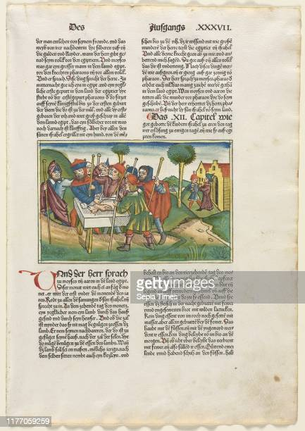 Offering of the Paschal Lamb from the German Bible published by Anton Koberger, Nurnberg, 1483. Anonymous. Woodcut with hand coloring.