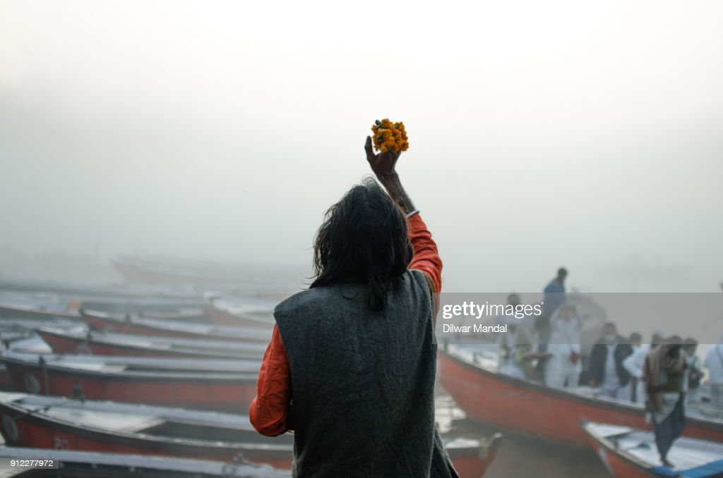Offering Puja at Early Morning : Stock Photo