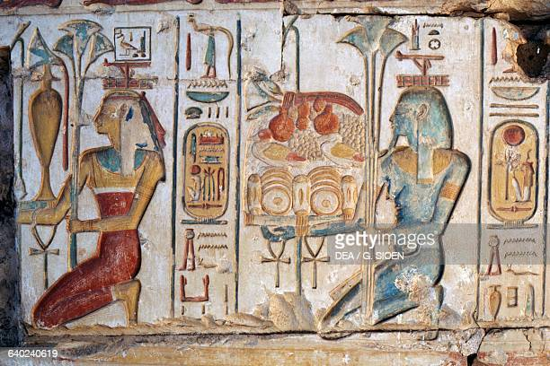 Offering scene relief Temple of Ramses II Abydos Egypt Egyptian civilisation New Kingdom Dynasty XIX