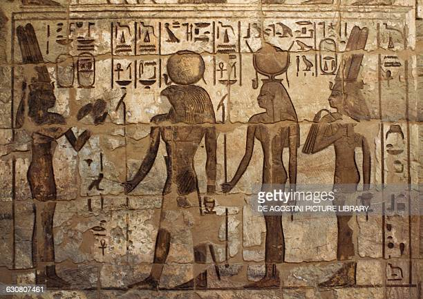 Offering to the god Ra in the presence of Hathor relief in the Mortuary Temple of Ramesses III Medinet Habu Thebes Egyptian civilisation New Kingdom...