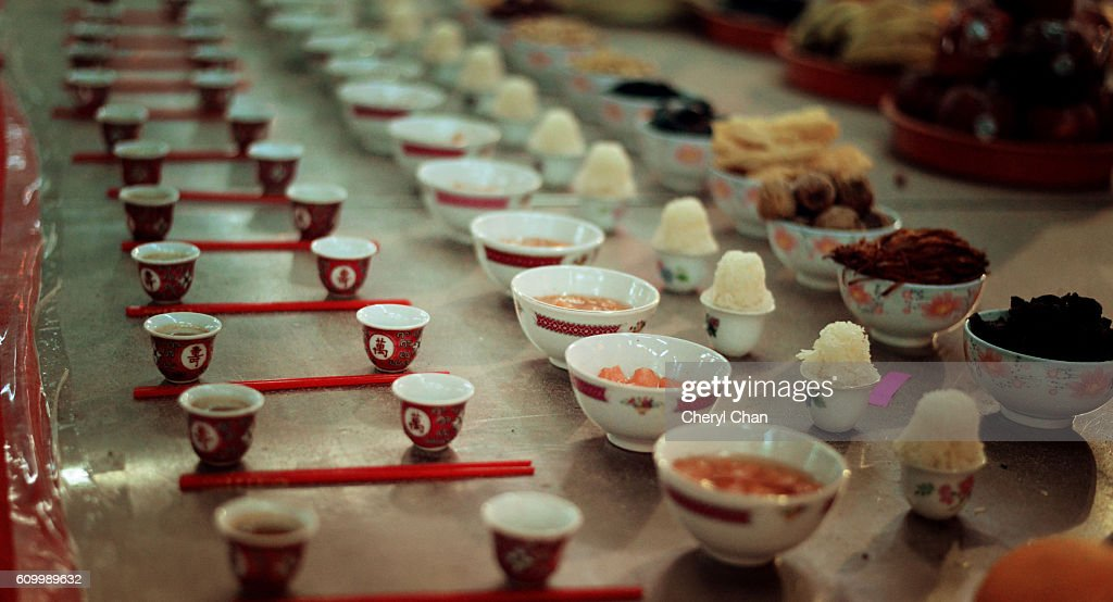 Offerings at Hungry Ghost Festival : Stock Photo