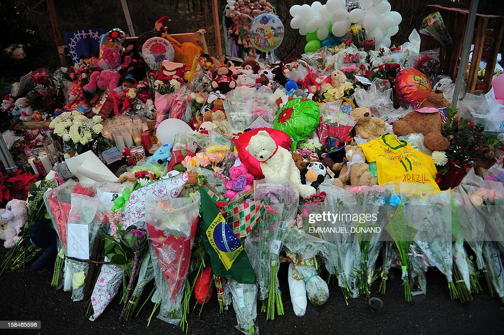 Offerings stand at a makeshift shrine to the victims of an elementary school shooting in Newtown, Connecticut, December 17, 2012. Funerals began Monday in the little Connecticut town of Newtown after the school massacre that took the lives of 20 small children and six staff, triggering new momentum for a change to America's gun culture. The first burials, held under raw, wet skies, were for two six-year-old boys who were among those shot in Sandy Hook Elementary School. On Tuesday, the first of the girls, also aged six, was due to be laid to rest. There were no Monday classes at all across Newtown, and the blood-soaked elementary school was to remain a closed crime scene indefinitely, authorities said. AFP PHOTO/Emmanuel DUNAND