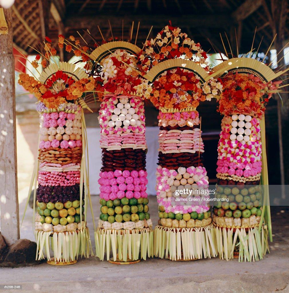 Offerings, temple festival near Mengwi, Bali, Indonesia, Asia : Stockfoto