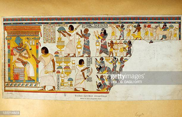 Offerings to the Pharaoh reproduction of a mural found at Thebes from Monuments from Egypt and Ethiopia by Karl Richard Lepsius 1849
