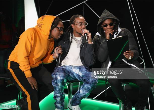 Offest Quavo and Takeoff of Migos on stage at MTN DEW ICE Courtside Studios during NBA AllStar 2019 at Epicentre on February 16 2019 in Charlotte...